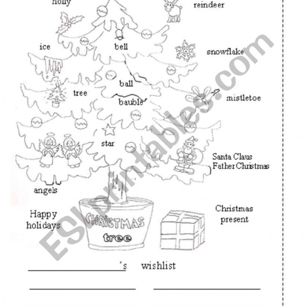 Christmas Coloring Esl With Tree Page ESL Worksheet By Francescopio
