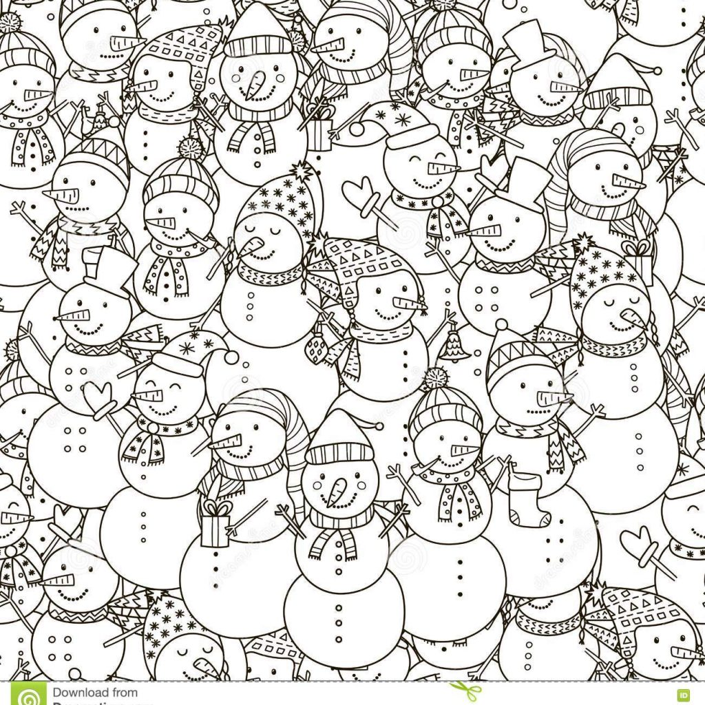 Christmas Coloring Fabric With Black And White Snowmen Seamless Pattern Stock Vector Illustration