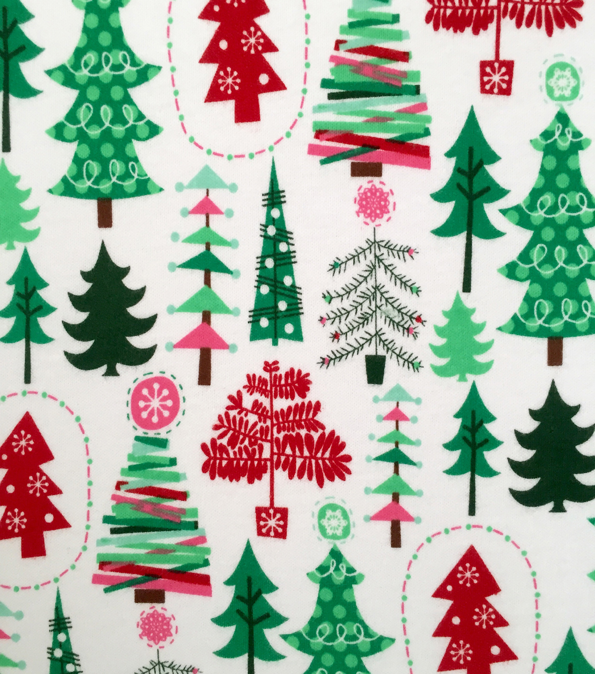 Christmas Coloring Fabric With Doodles Interlock Cotton Multi Colored Trees JOANN