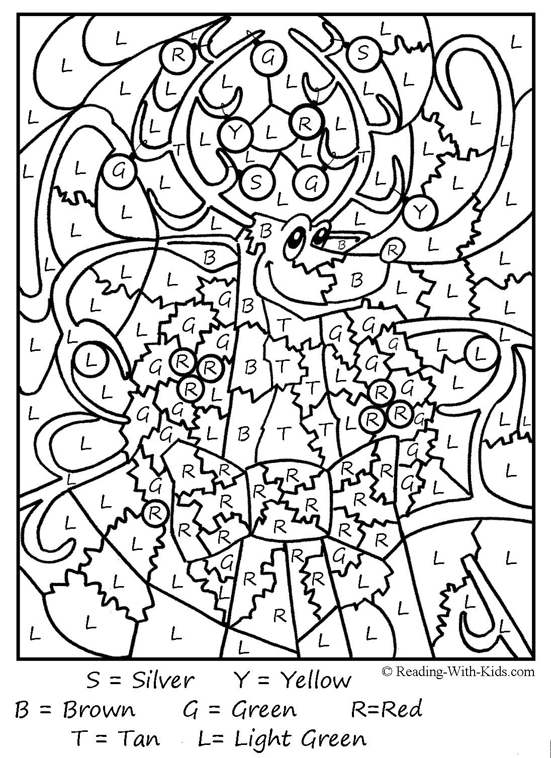 Christmas Coloring For Kindergarten With Color By Number Pages Printable