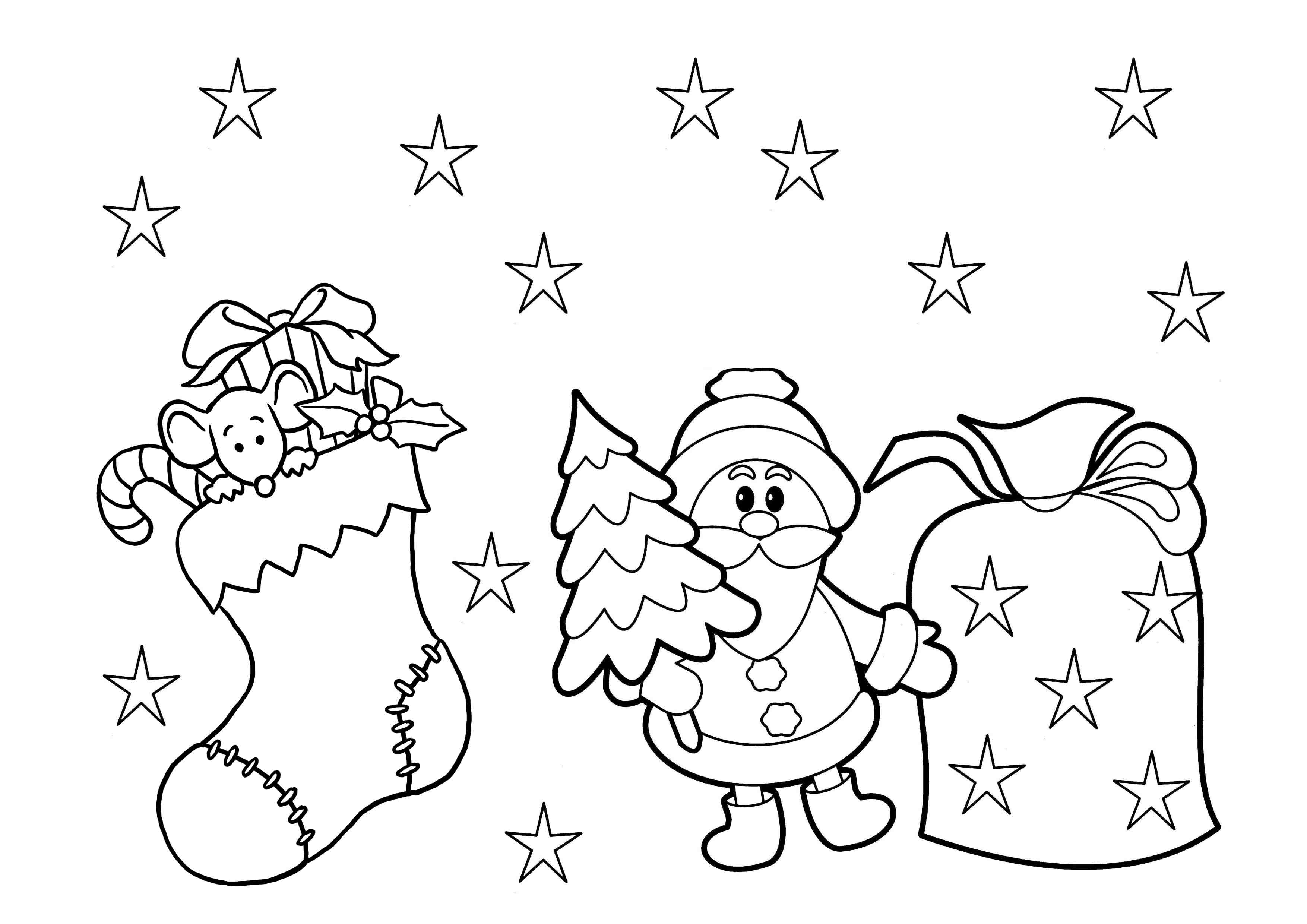 Christmas Coloring For Kindergarten With Print Download Printable Pages Kids