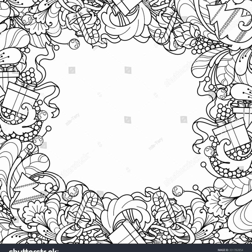 Christmas Coloring Frames With Frame Tree Gift Box Stock Vector Royalty Free