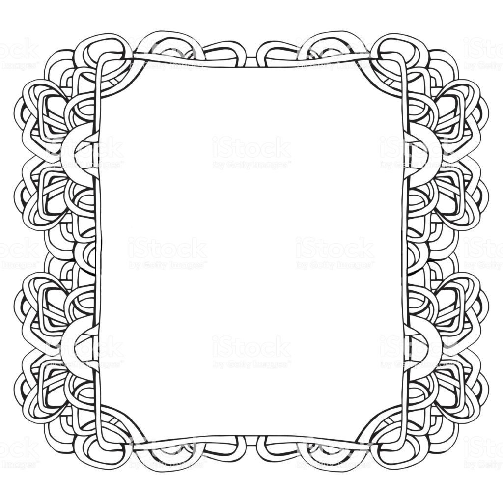 Christmas Coloring Frames With Photo Or Text Frame Graphic Linear Picture Stock Vector Art