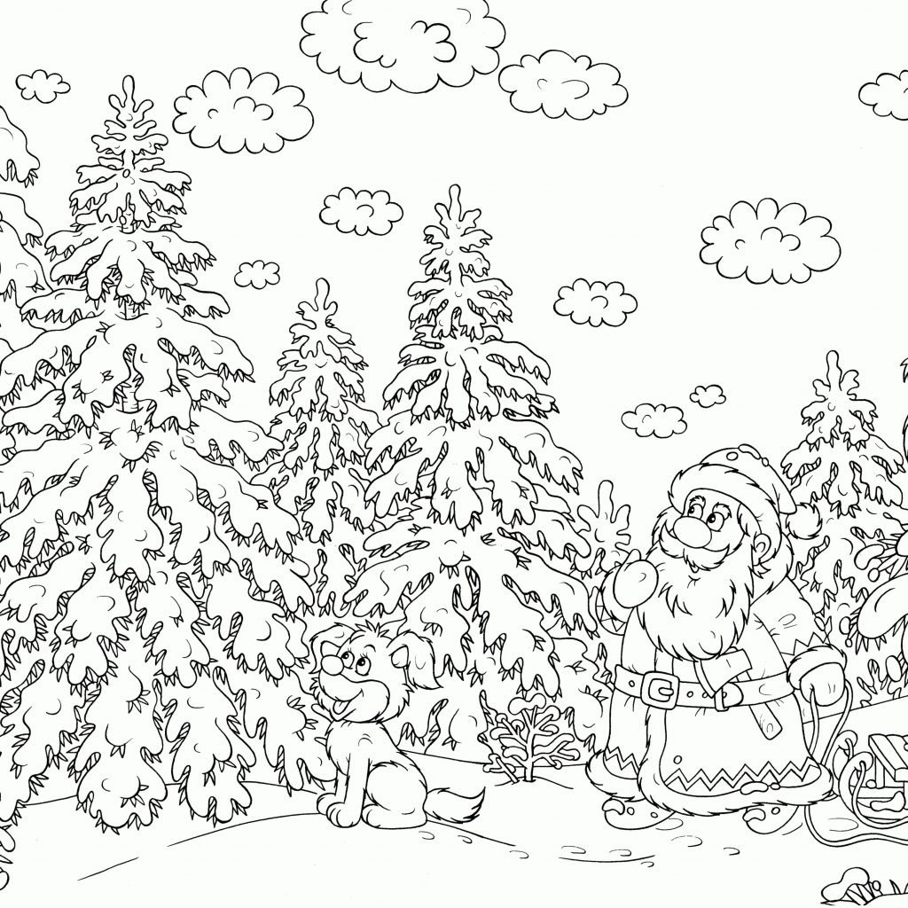 Christmas Coloring Free With Pages Difficult For Adults
