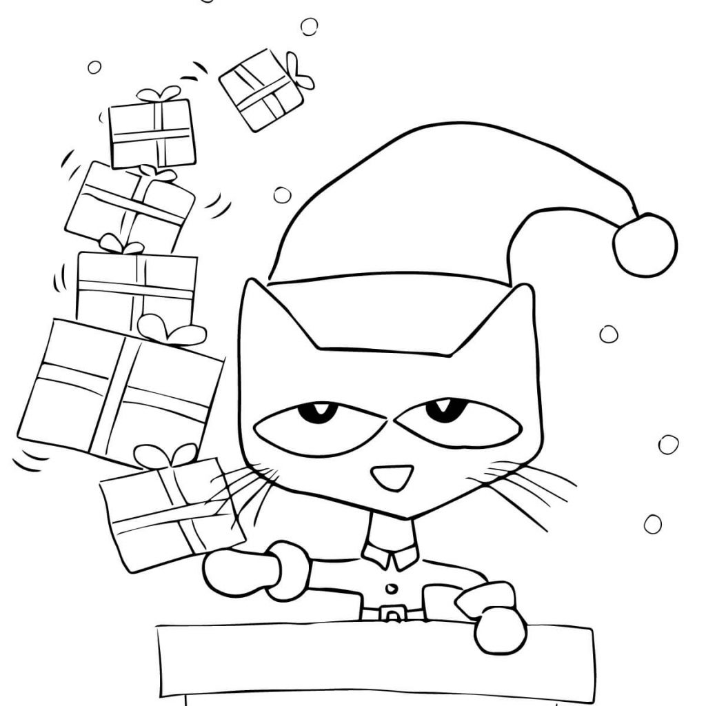 Christmas Coloring Full Page With Pete The Cat Saves Free Printable