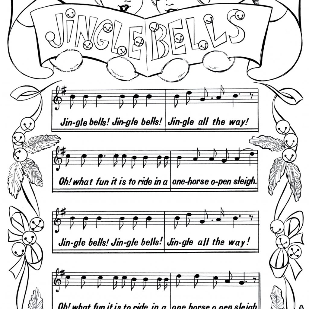 Christmas Coloring Full Page With Printable Jingle Bells The Graphics Fairy