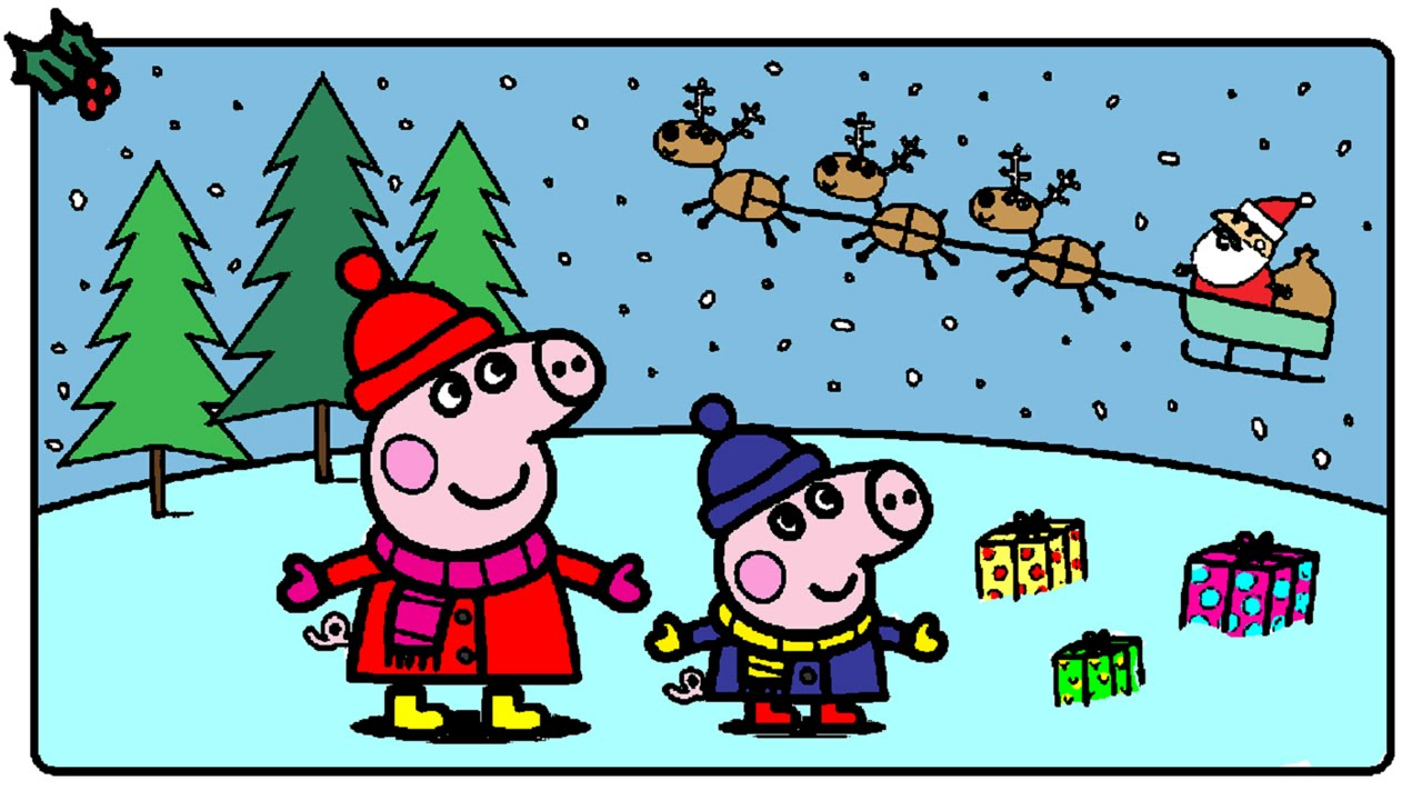 Christmas Coloring Games Online With Peppa Pig Pages For Kids