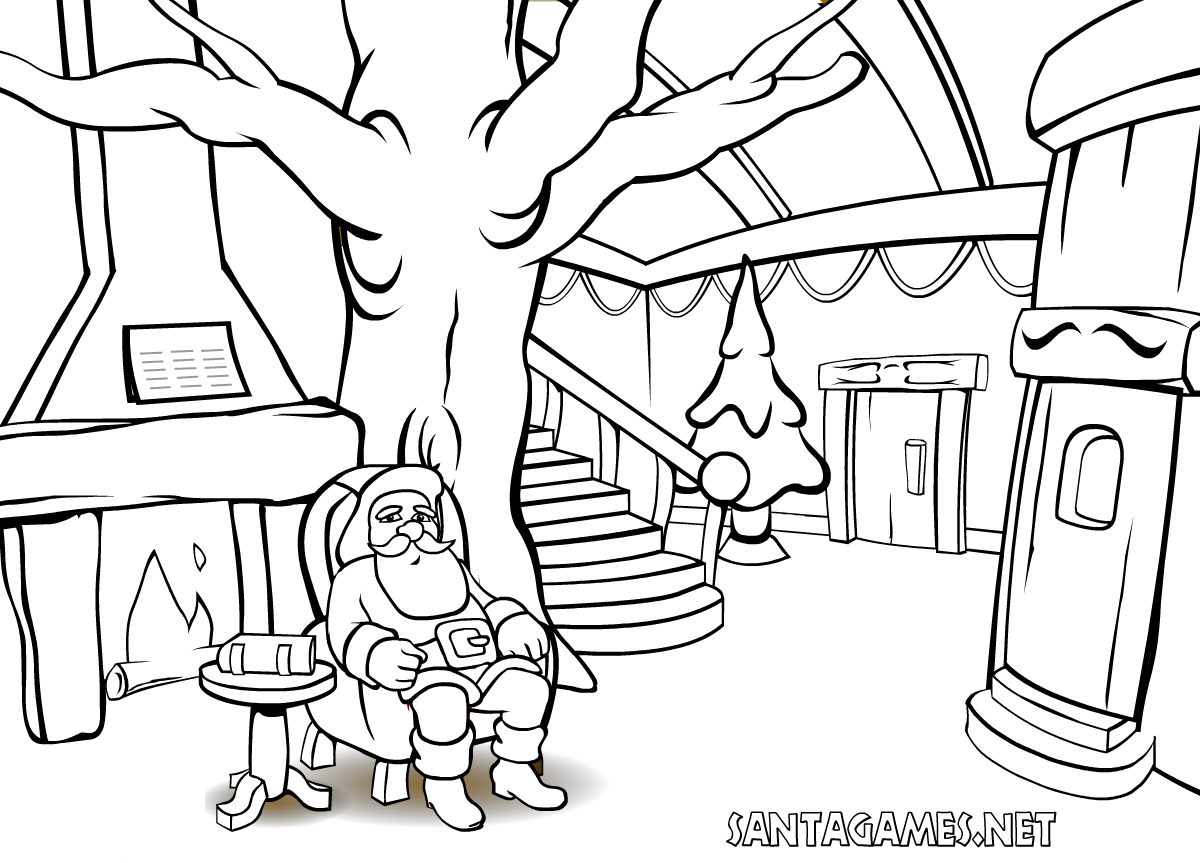 Christmas Coloring Games With Pages Santa Claus In Front Of The Fire