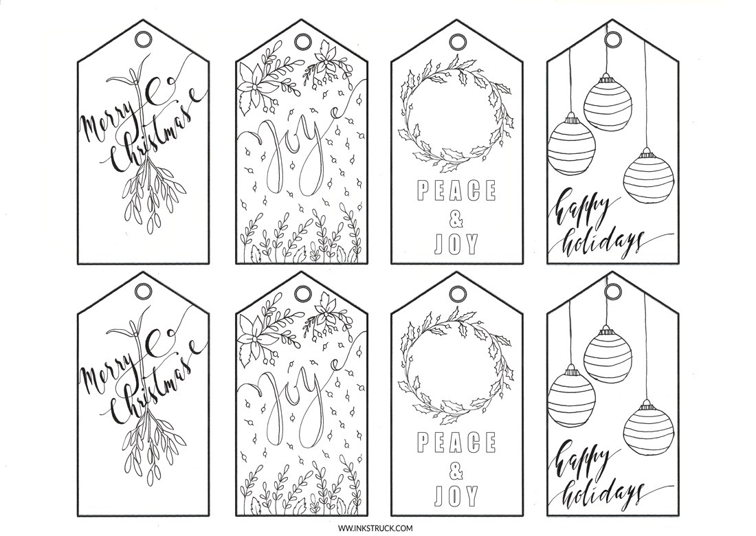Christmas Coloring Gift Tags With Adult Free Printable 0 Inkstruck Studio