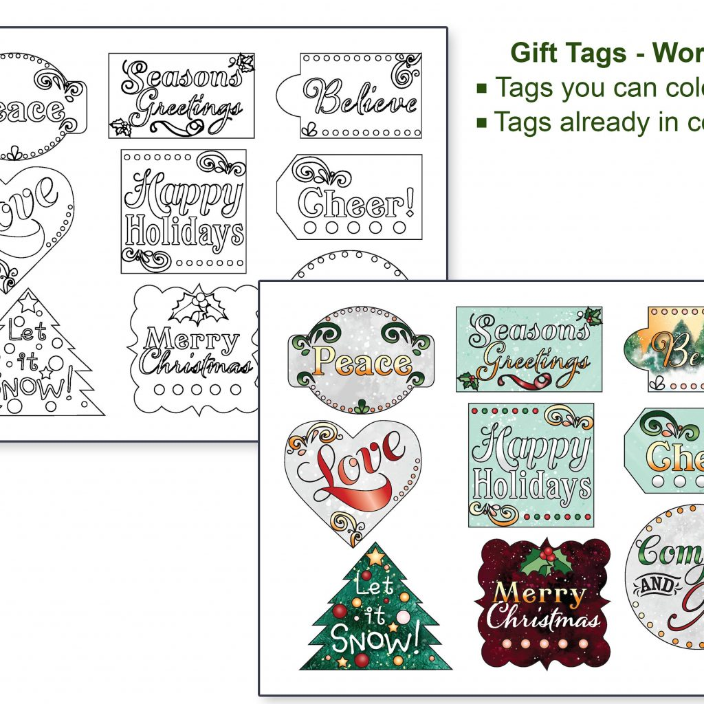 Christmas Coloring Gift Tags With And