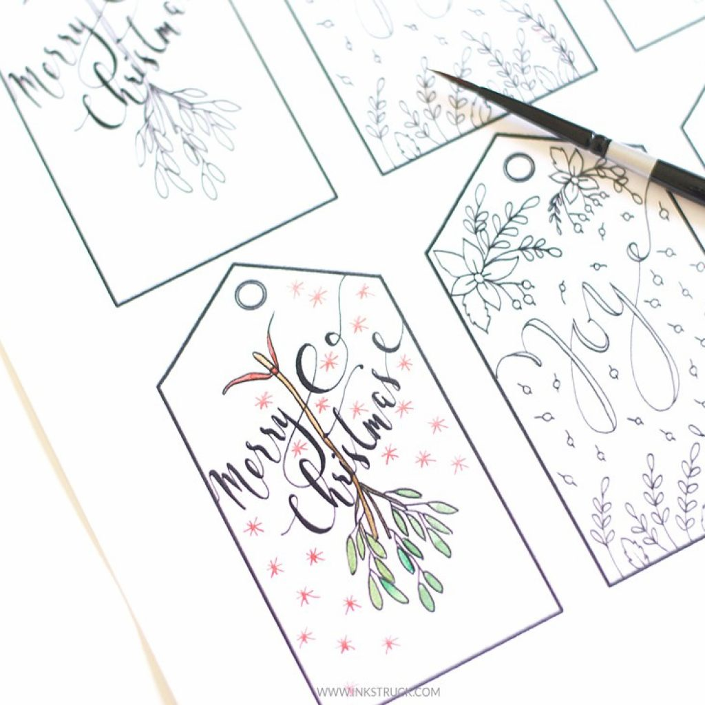 Christmas Coloring Gift Tags With Page Free Printable Inkstruck Studio