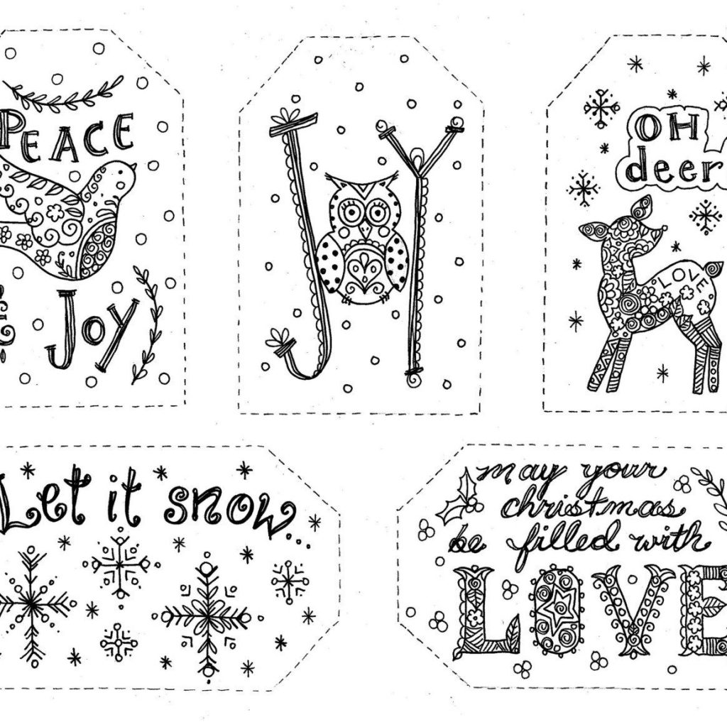 Christmas Coloring Gift Tags With To Color INSTANT DOWNLOAD Holiday Fun 2