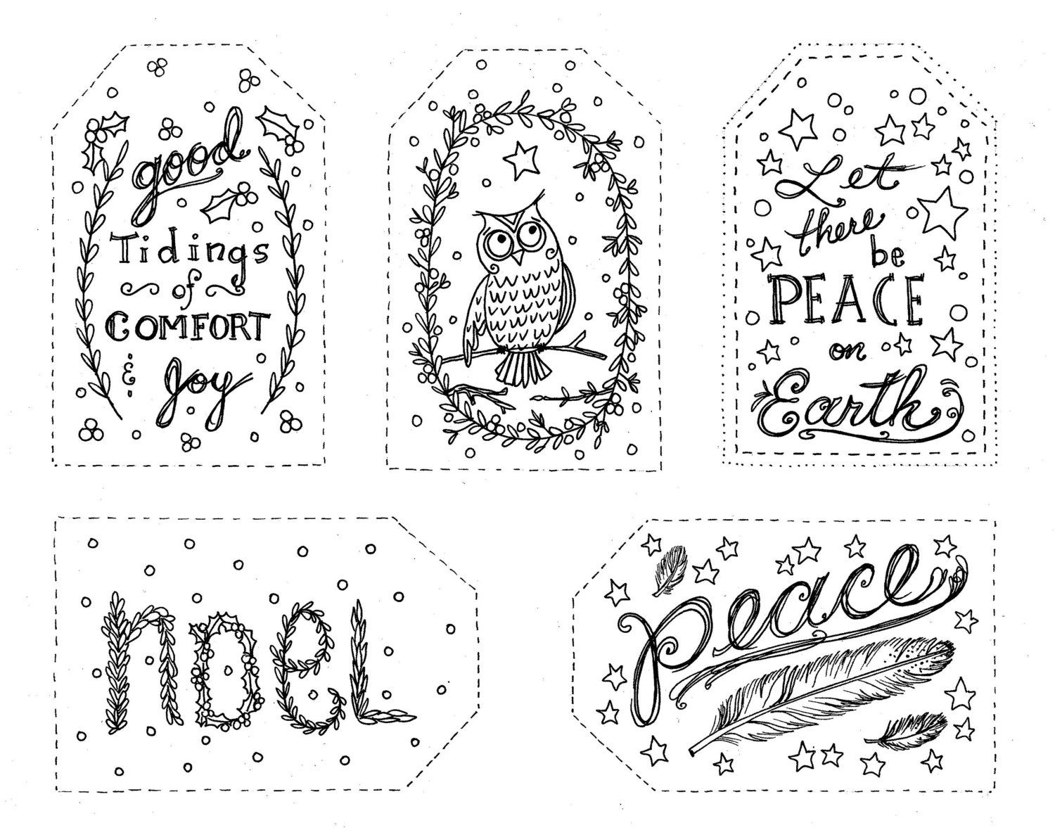 Christmas Coloring Gift Tags With To Color INSTANT DOWNLOAD Holiday Fun