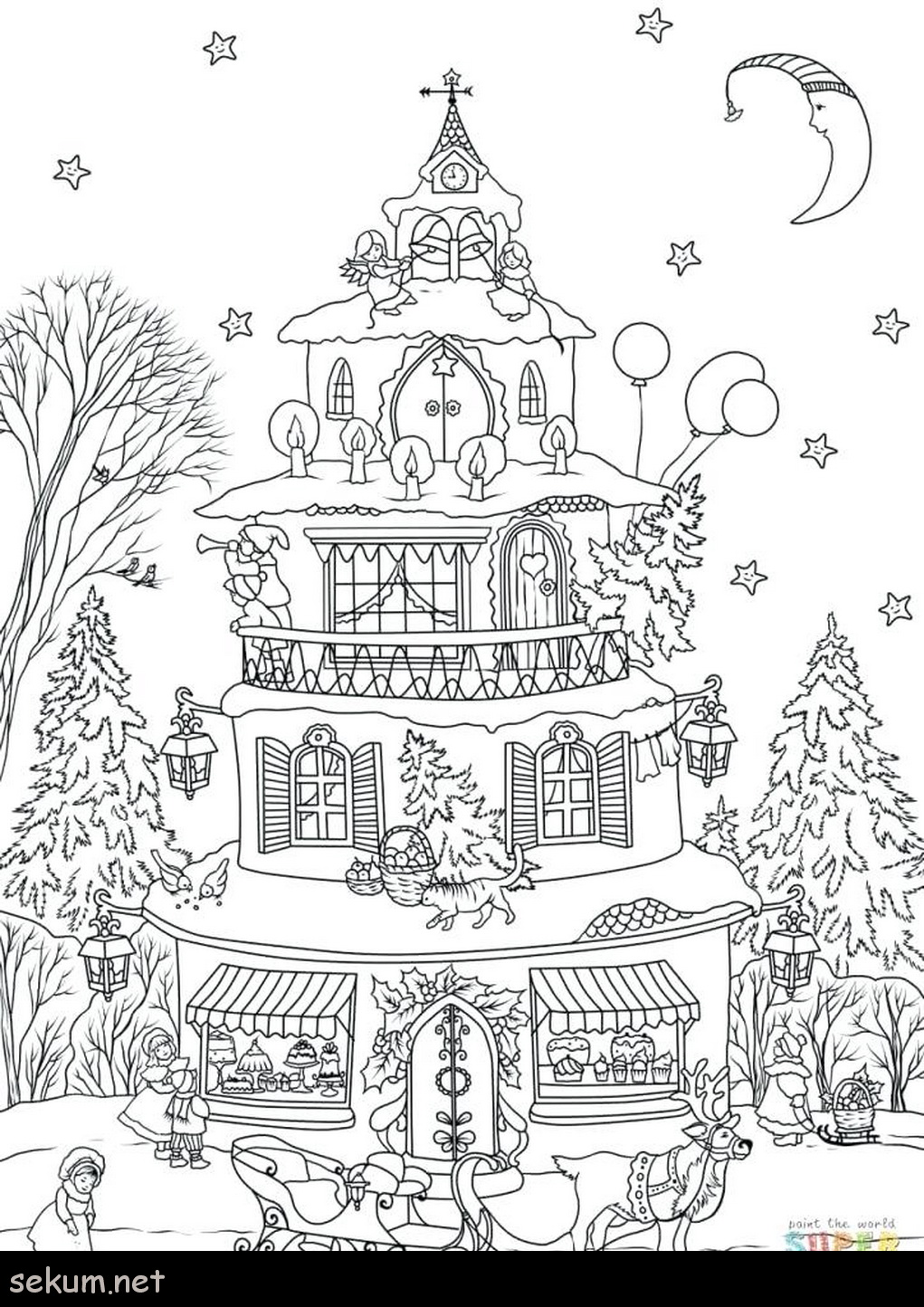 Christmas Coloring Gingerbread House With Collection Of Pages Download Them And