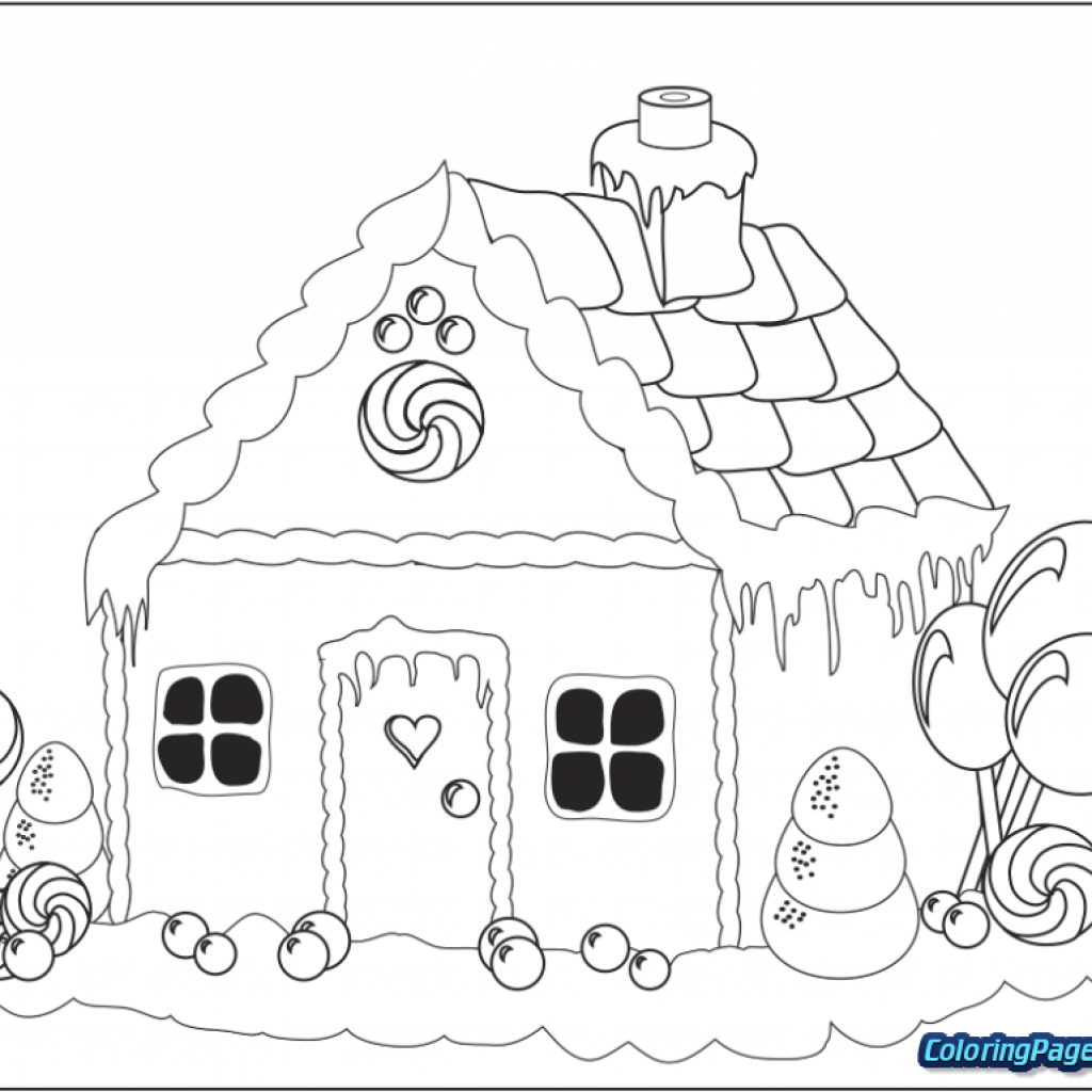 Christmas Coloring Gingerbread House With Man Pages For Kids