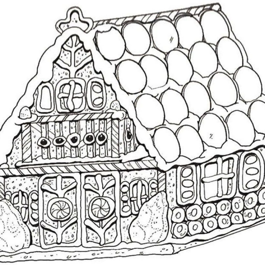 Christmas Coloring Gingerbread House With Special Pages To Print