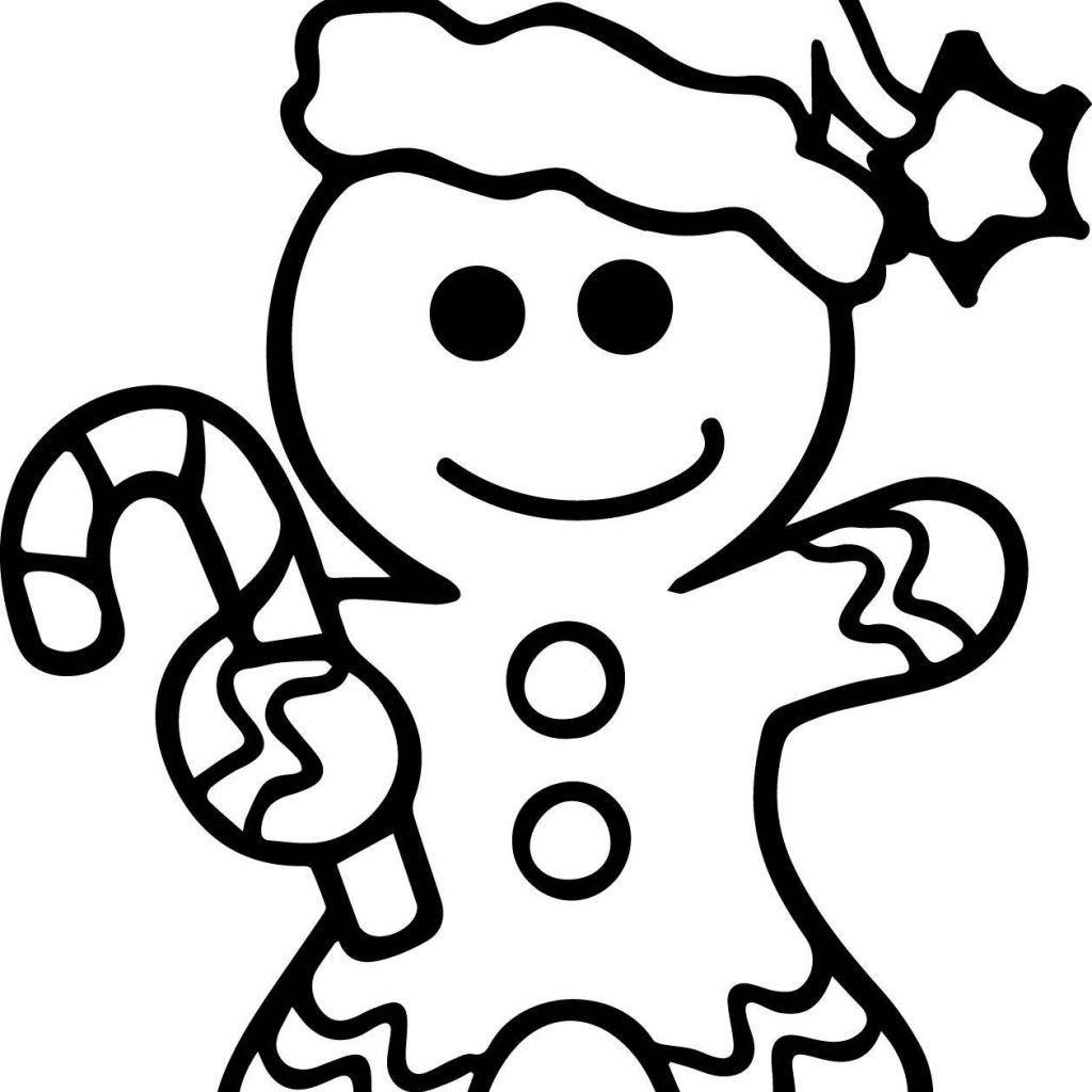 Christmas Coloring Gingerbread Man With Color Page Pages Free 1005 1300