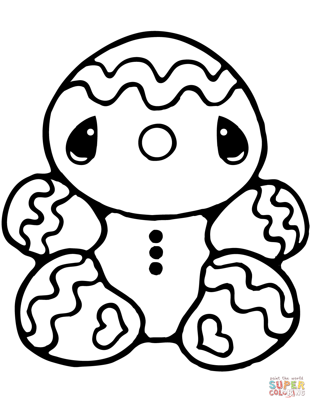 Christmas Coloring Gingerbread Man With Tiny Page Free Printable Pages