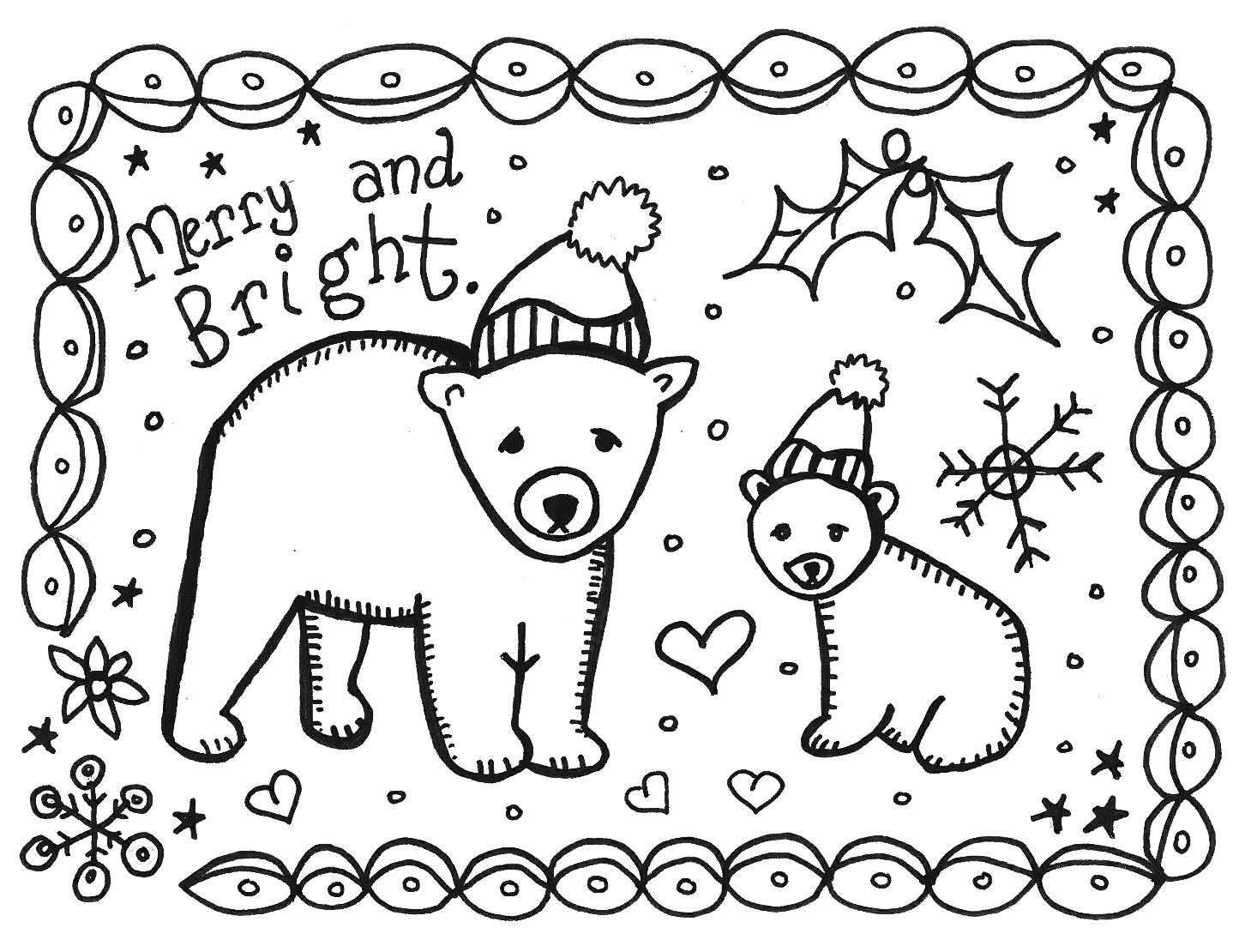 Christmas Coloring Greeting Cards With Free Printable Pages