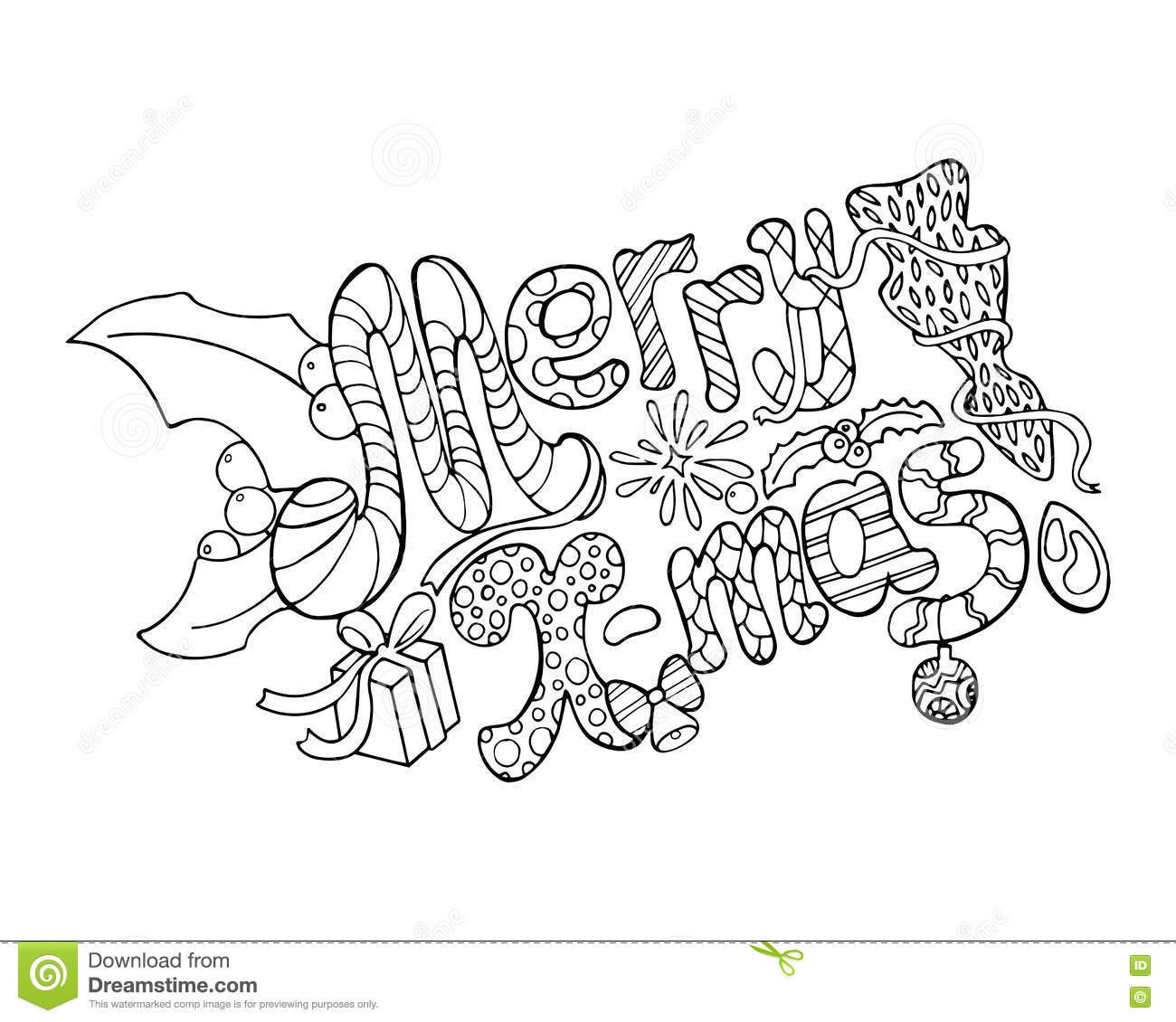 Christmas Coloring Greeting Cards With Merry Illustration Hand Drawn Lettering