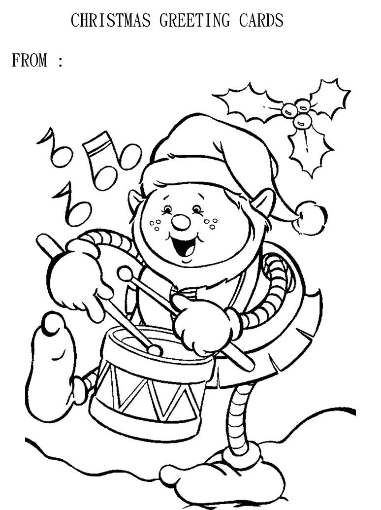 Christmas Coloring Greeting Cards With Page