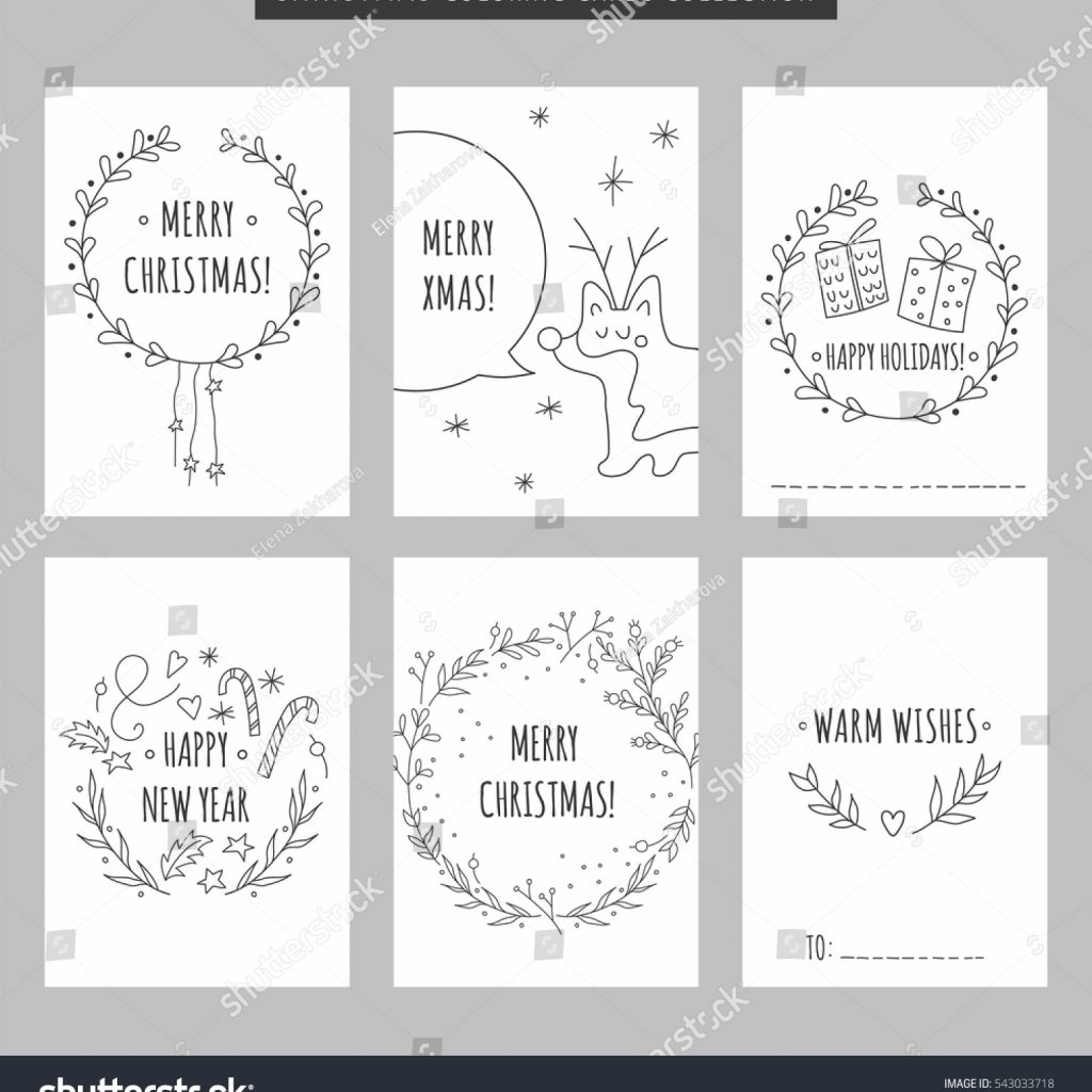 Christmas Coloring Greeting Cards With Set New Year Stock Vector Royalty Free
