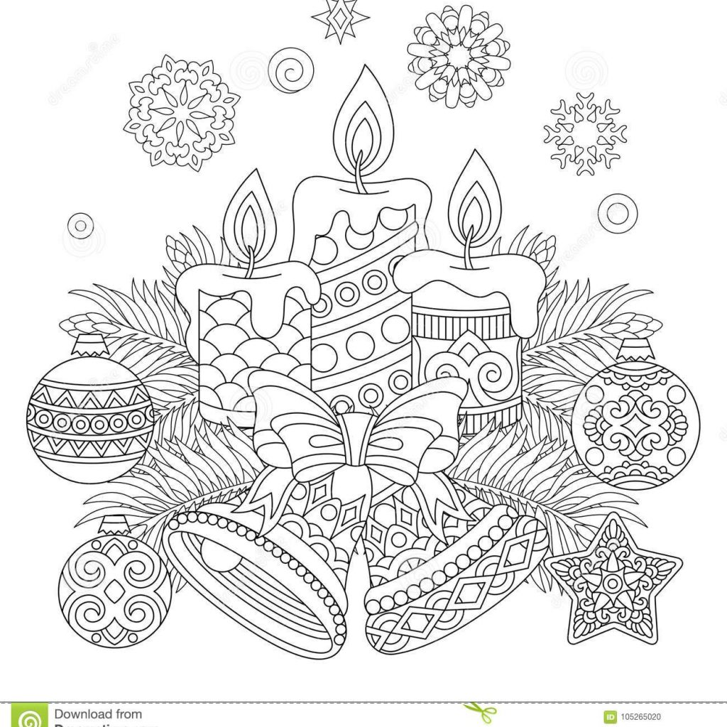 Christmas Coloring Greeting Cards With Vintage Decorations For Card Stock Vector