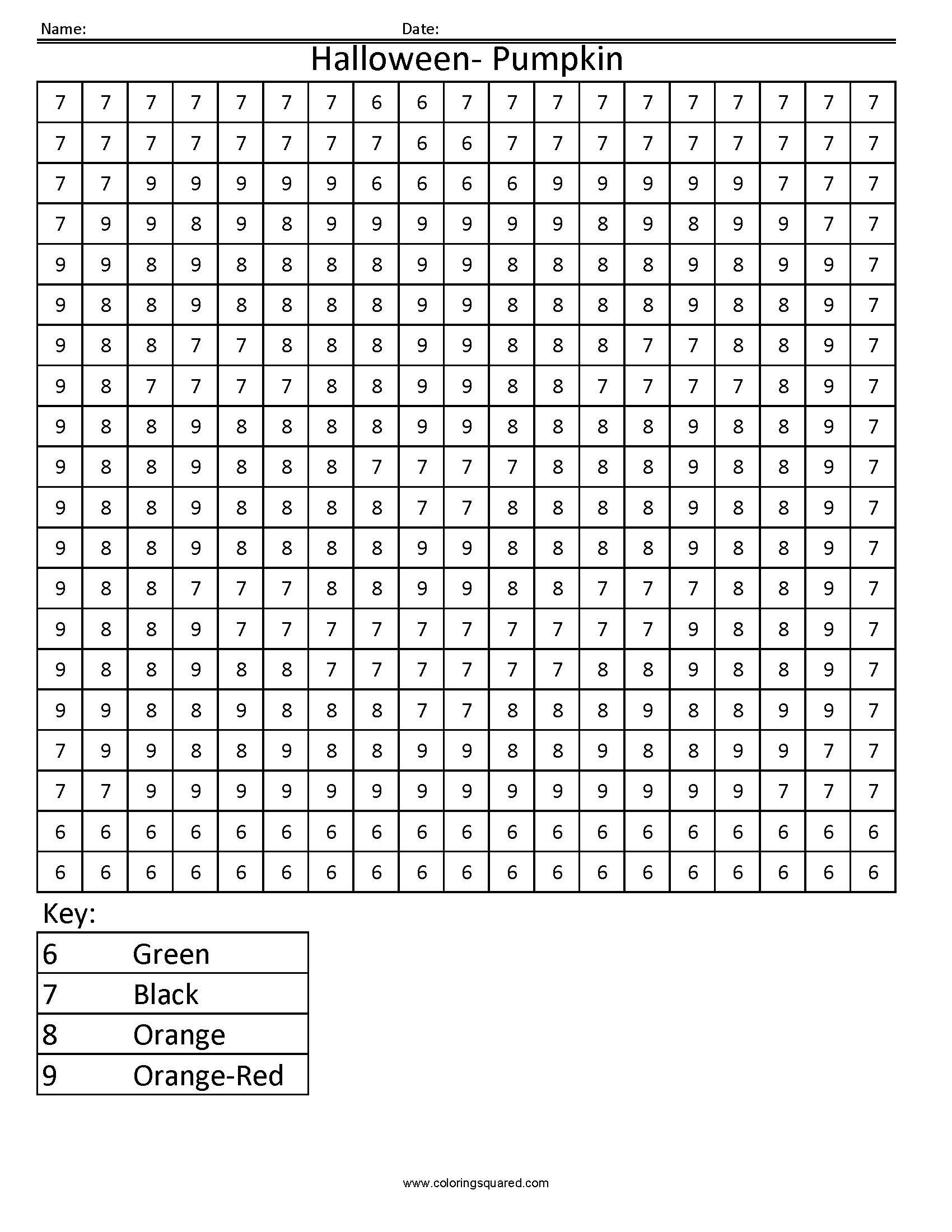 Christmas Coloring Grid Worksheets With Halloween Pumpkin Holiday Color By Number Squared