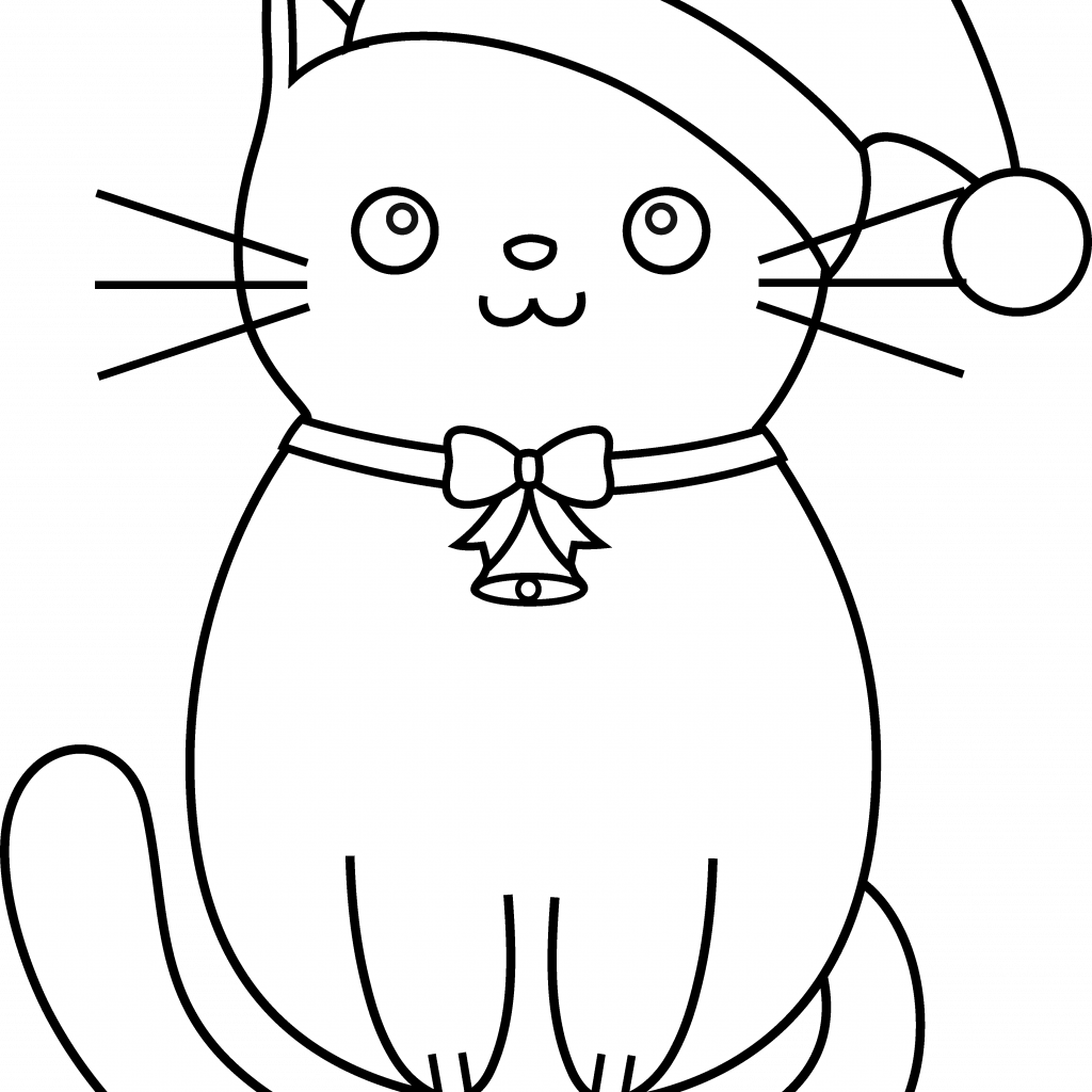 Christmas Coloring Hat With Cat Santa Svg Black And White Stock TechFlourish Collections
