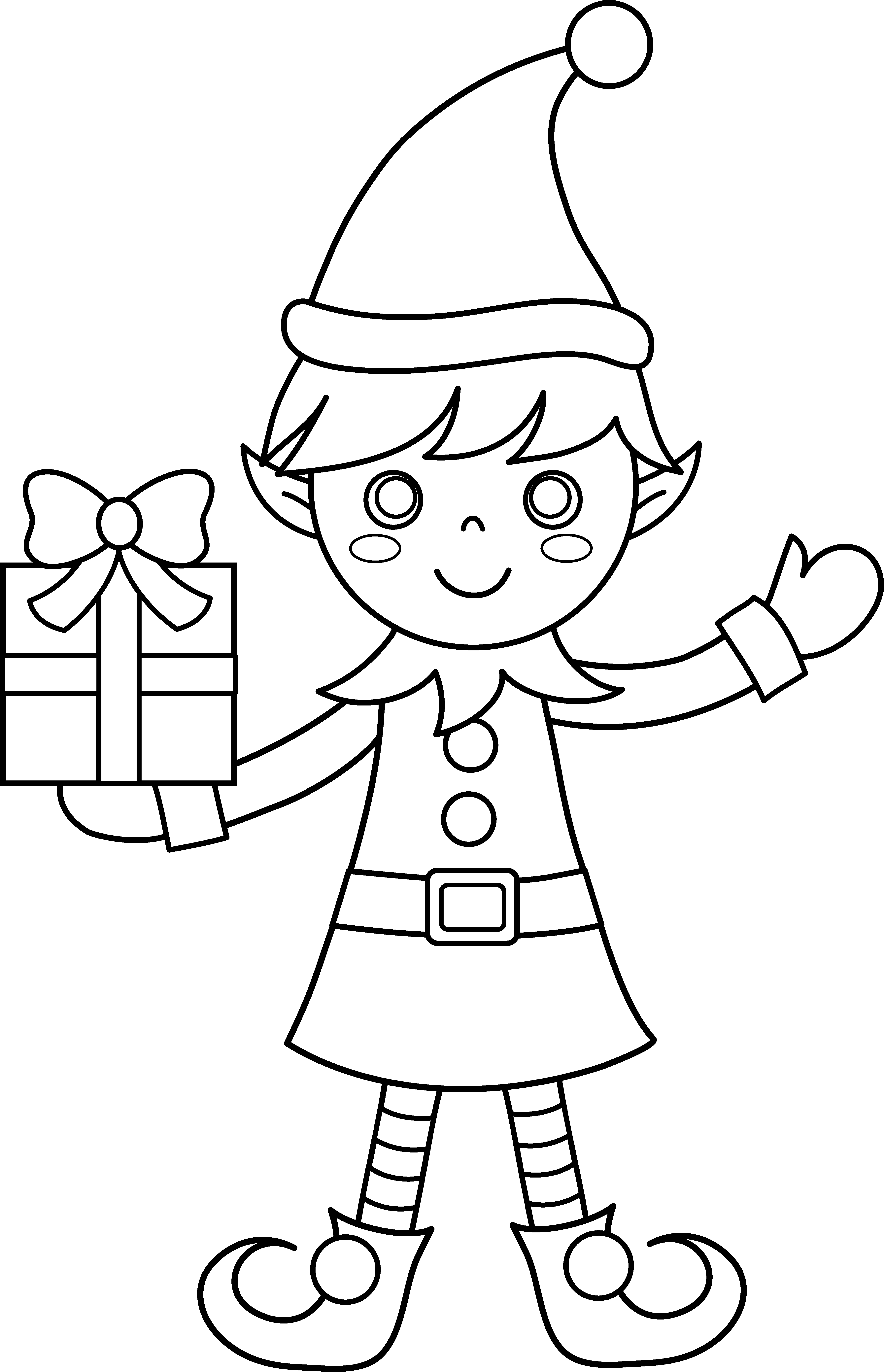 Christmas Coloring Hat With Elf Page Free Clip Art
