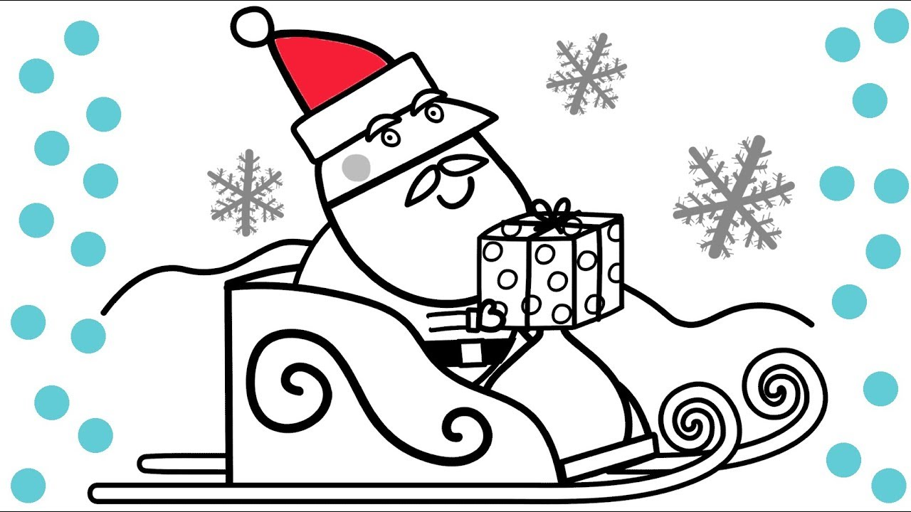 Christmas Coloring Hat With Peppa Pig Santa Book Pages Fun Video For