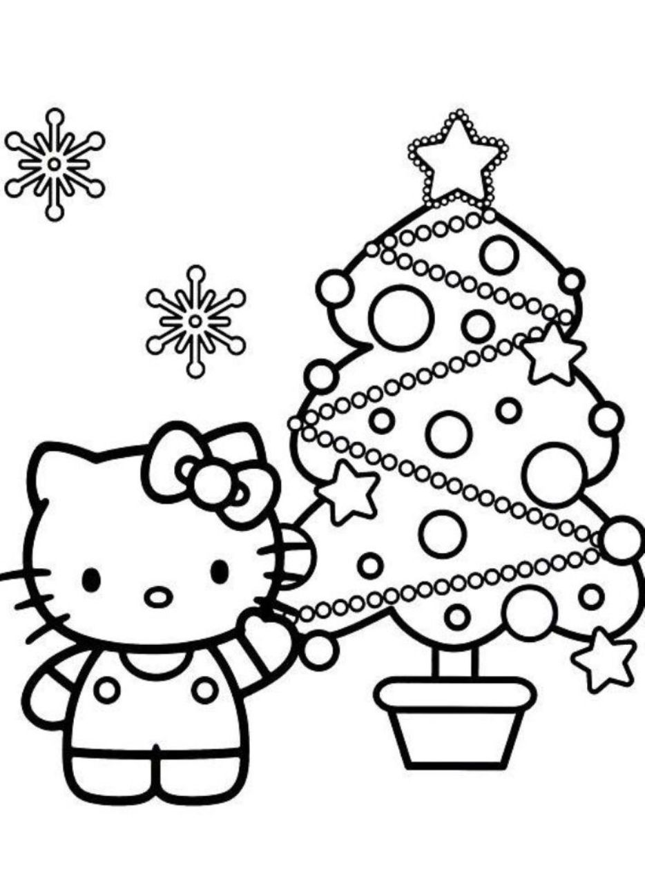 Christmas Coloring Hello Kitty With Download And Print Pages Tree