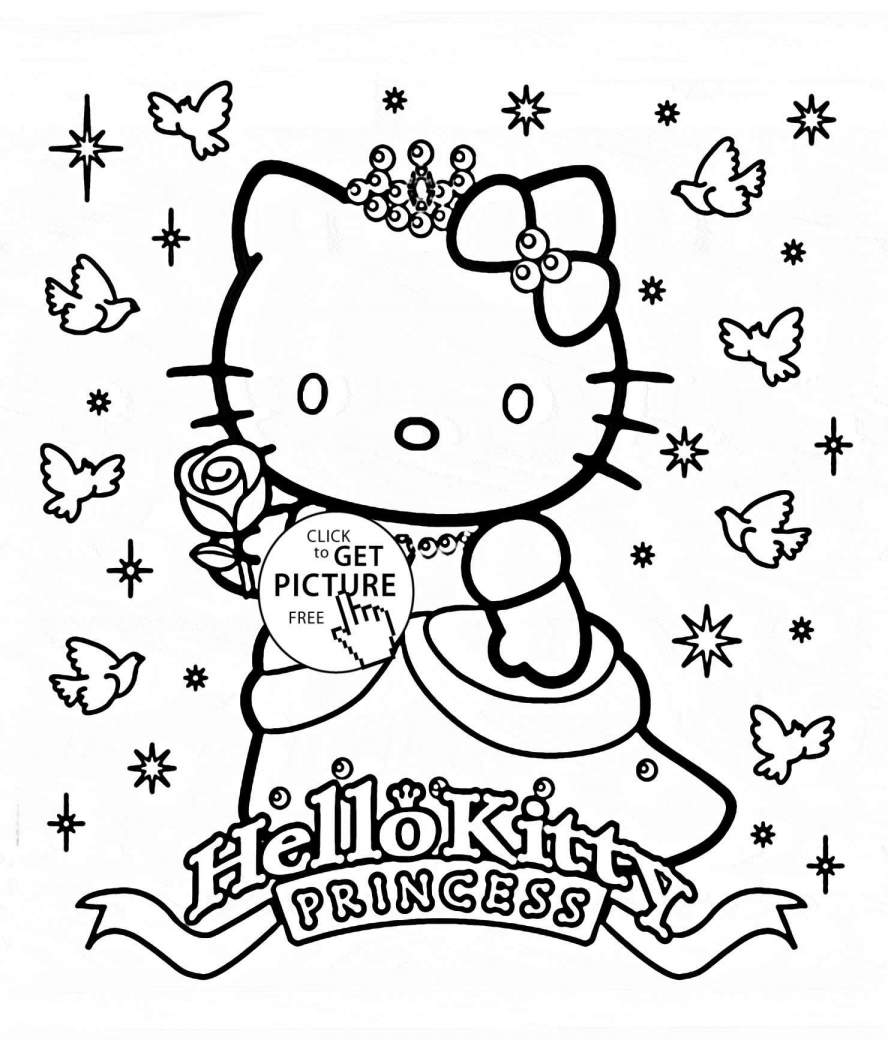 Christmas Coloring Hello Kitty With Merry Pages Printable