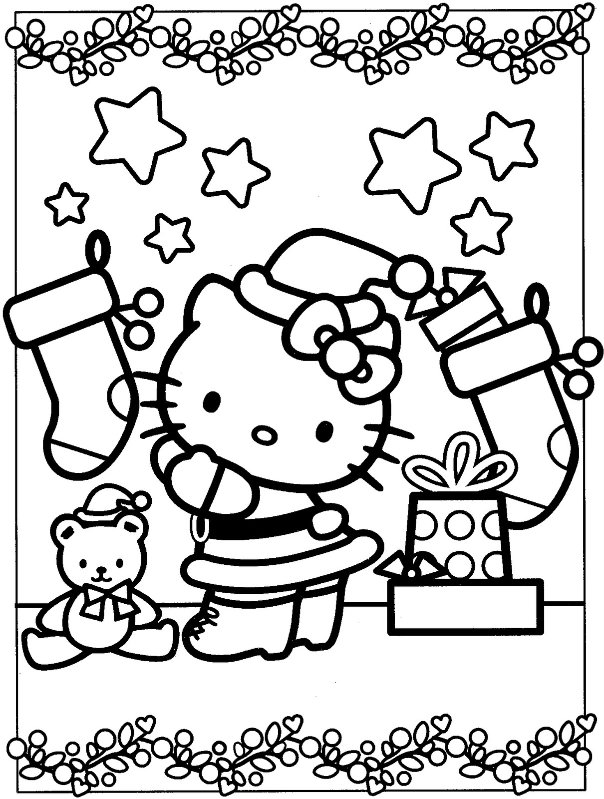 Christmas Coloring Hello Kitty With Pages Free Books
