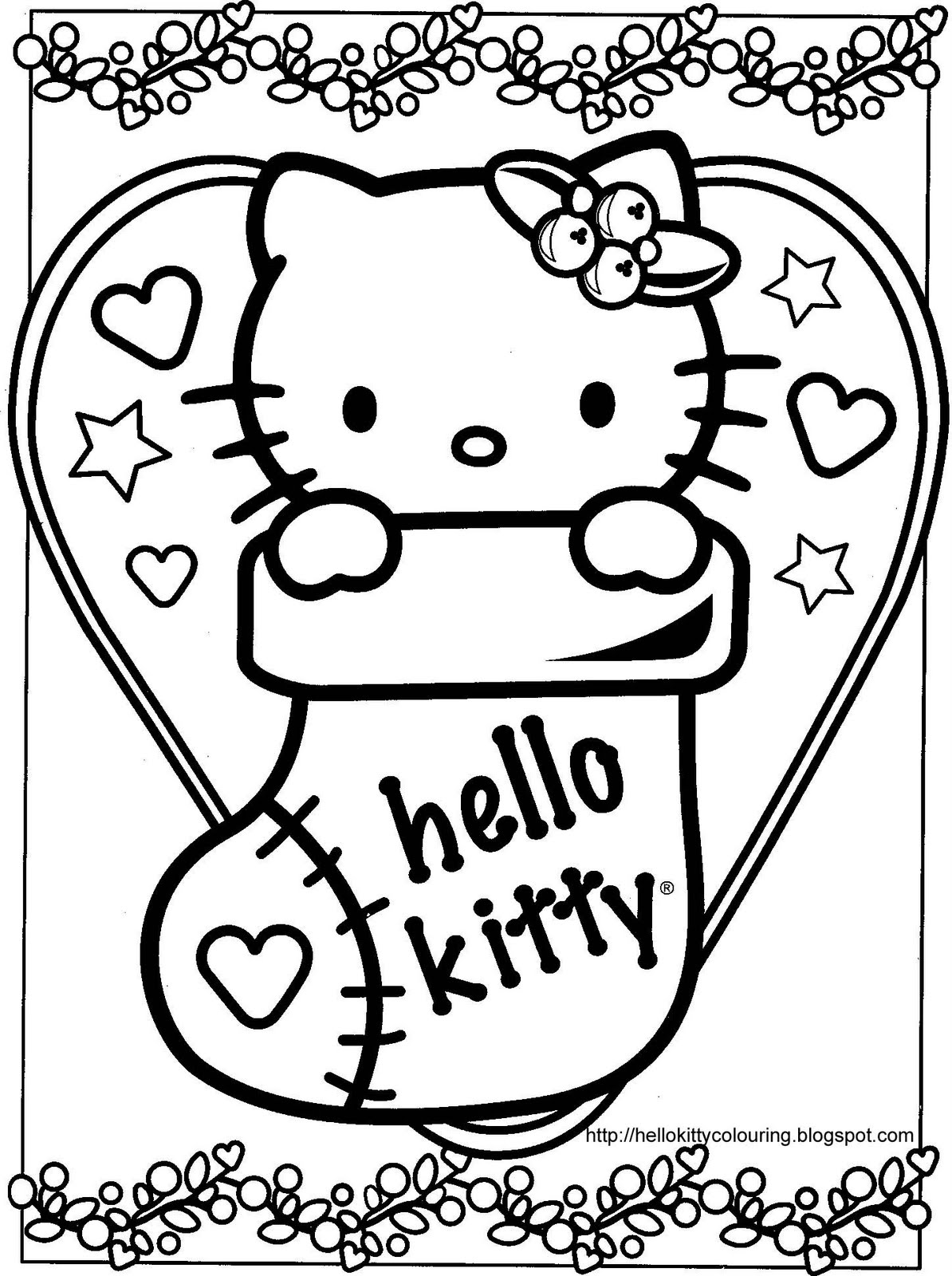 Christmas Coloring Hello Kitty With Pages Free Print Library