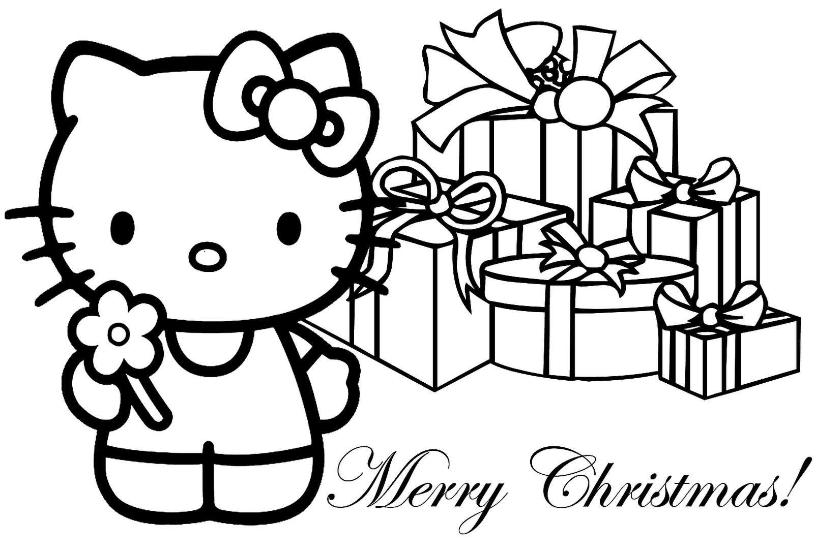 Christmas Coloring Hello Kitty With Pages Merry