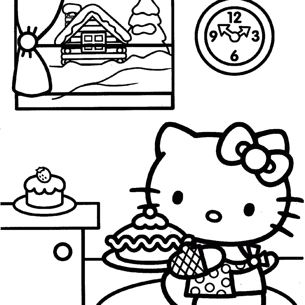 Christmas Coloring Hello Kitty With Prepares For Page Free Printable