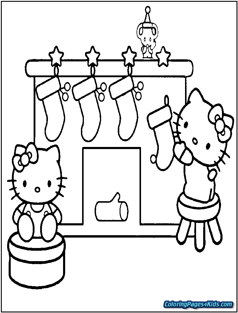 Christmas Coloring Hello Kitty With Printable Pages For Kids