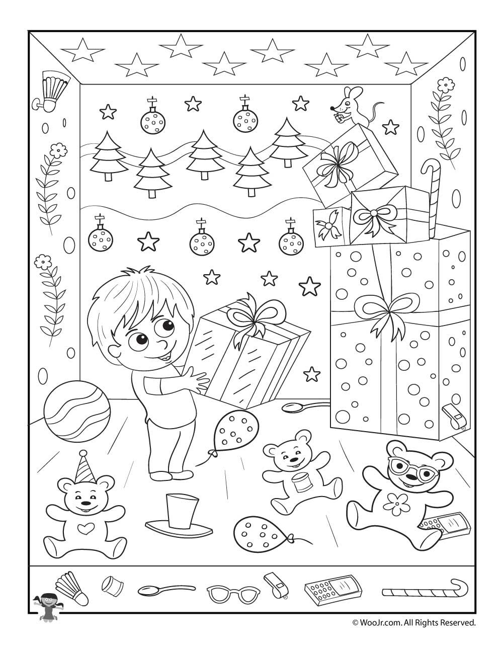 Christmas Coloring Hidden Pictures With Gifts Picture Printable Activity Merry