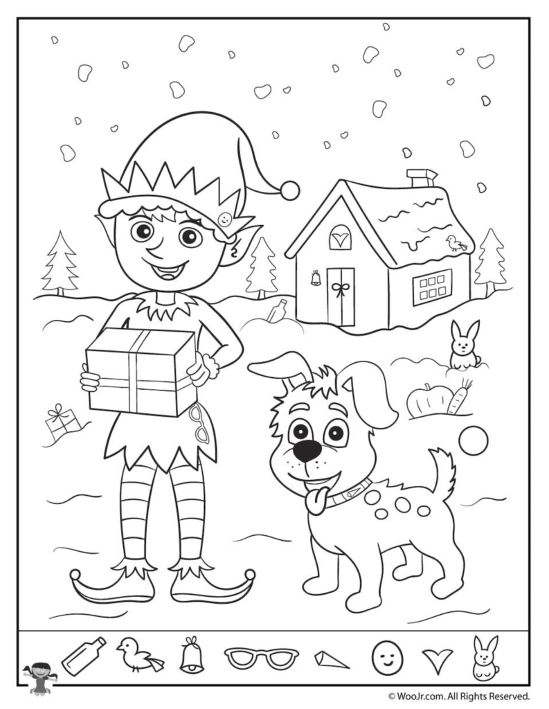 Christmas Coloring Hidden Pictures With Pages Free Printables Activities And