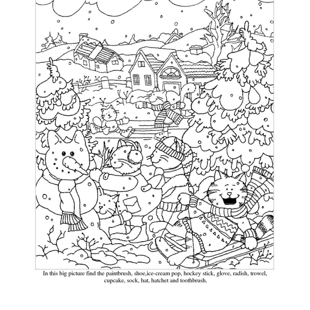 Christmas Coloring Hidden Pictures With Picture Page Printable For