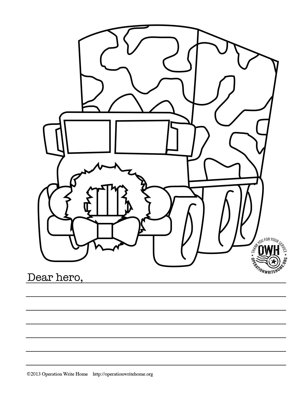 Christmas Coloring In Cards With FREE Military Pages For Operation Write Home