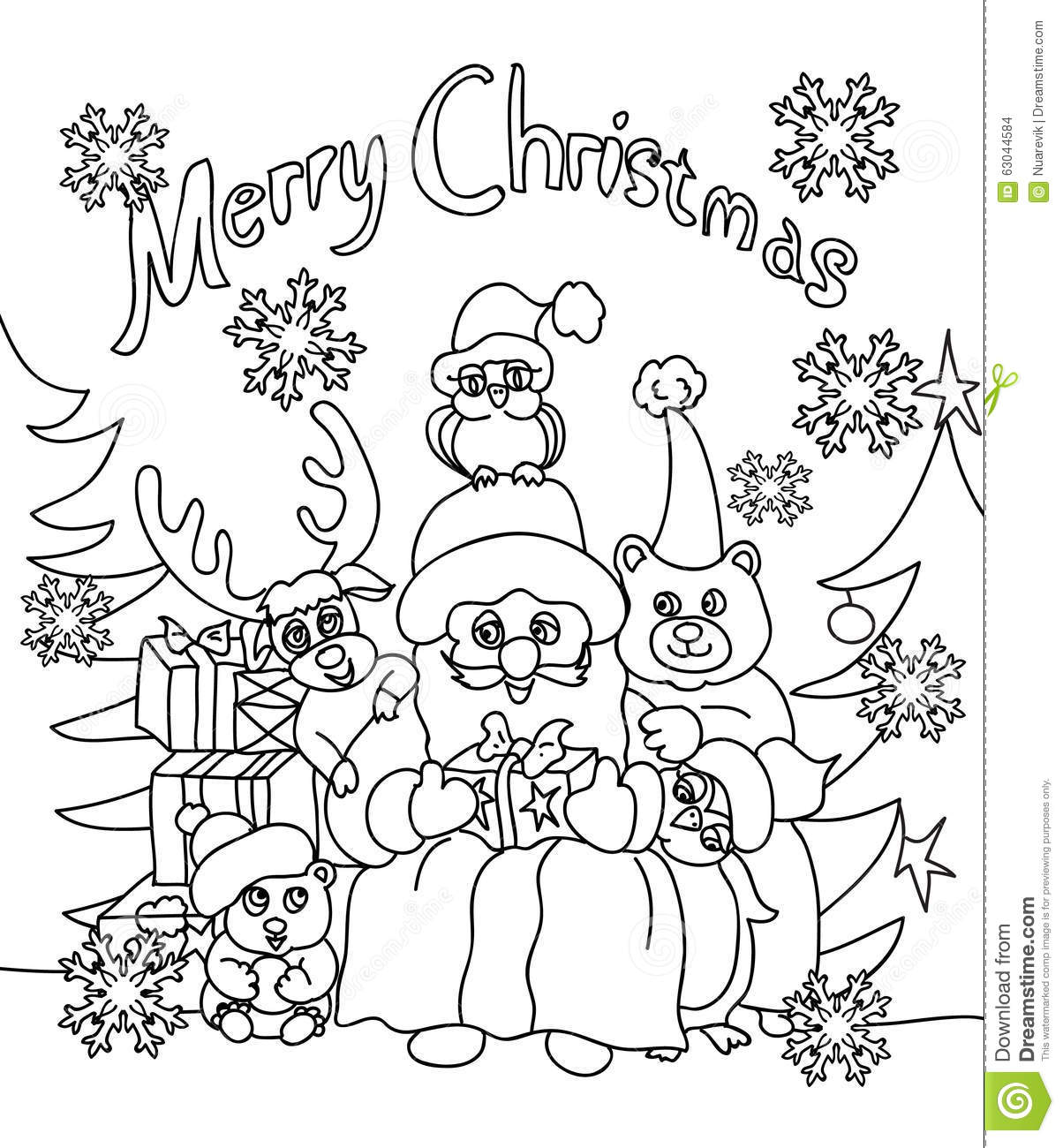 Christmas Coloring In Cards With Greeting Card Stock Illustration