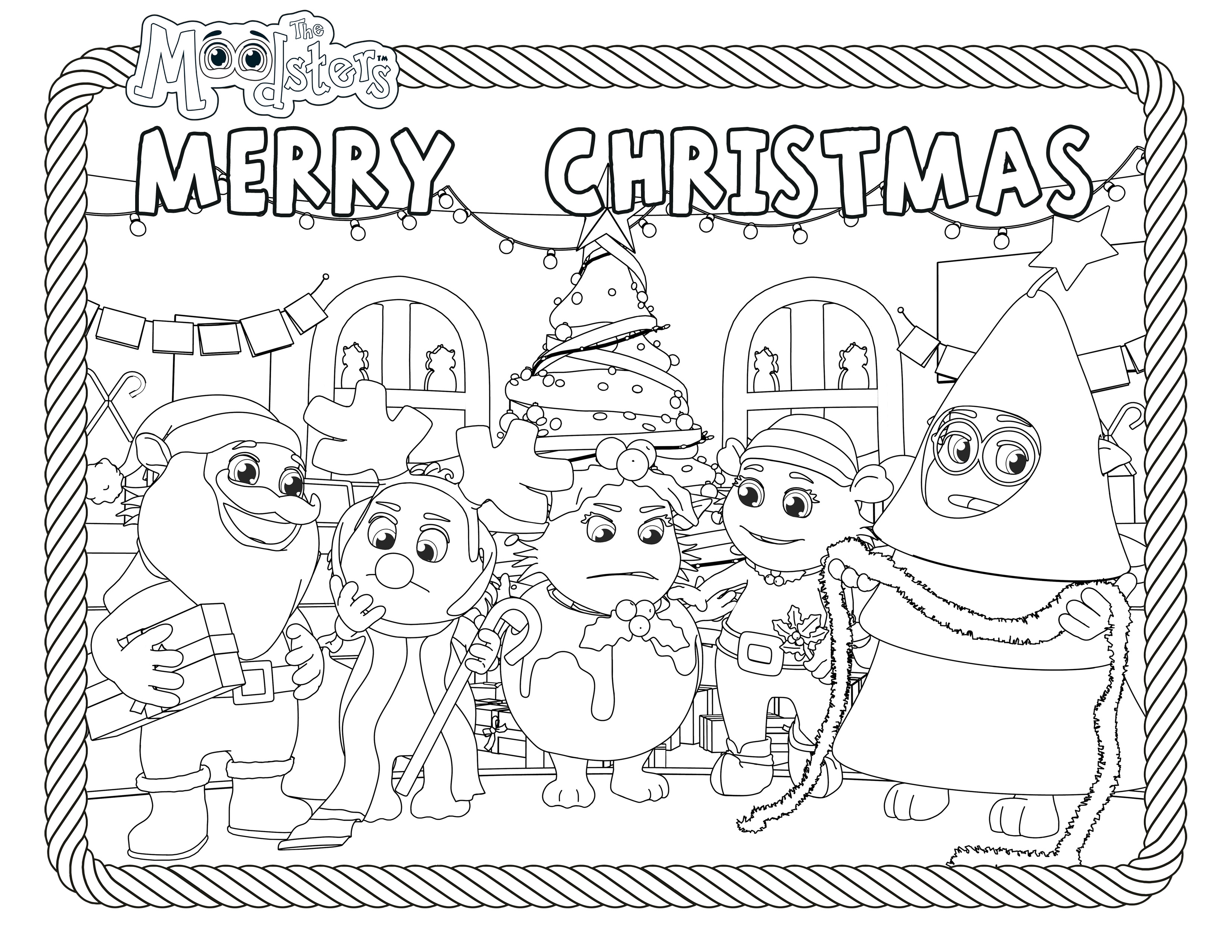 Christmas Coloring In Cards With Merry From The Moodsters Card