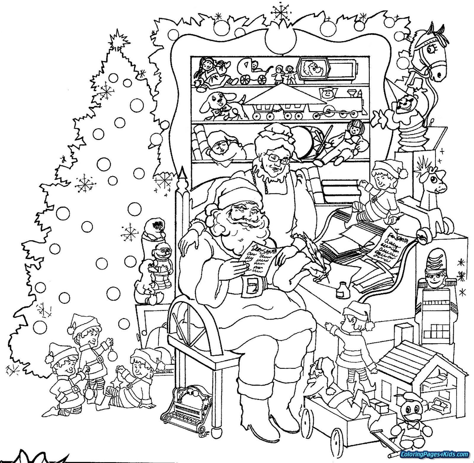 Christmas Coloring In Pages Printable With Colouring Free
