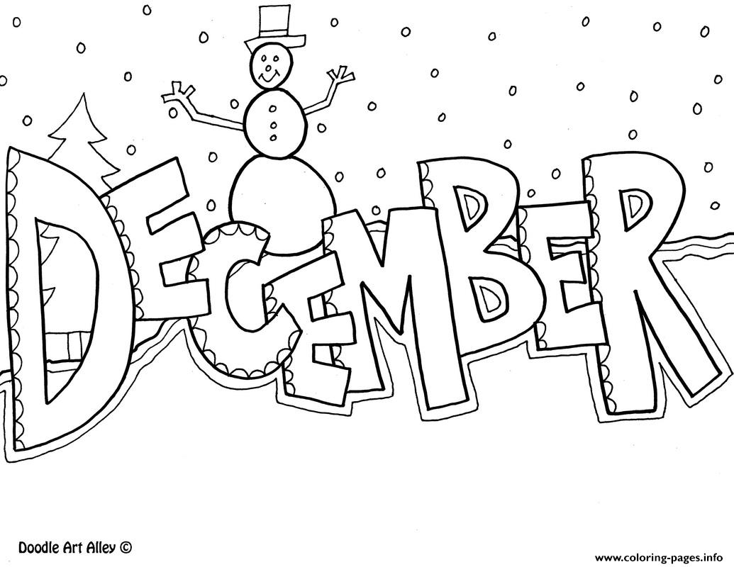 Christmas Coloring In Pictures To Print With December Pages Printable