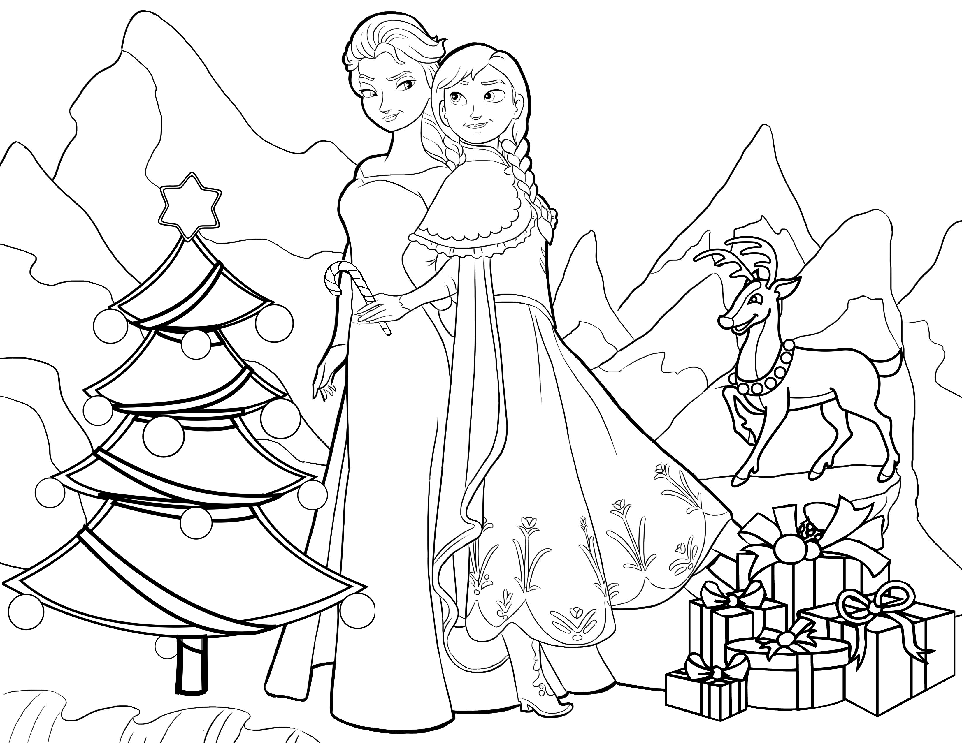 Christmas Coloring In Pictures With Frozen Pages