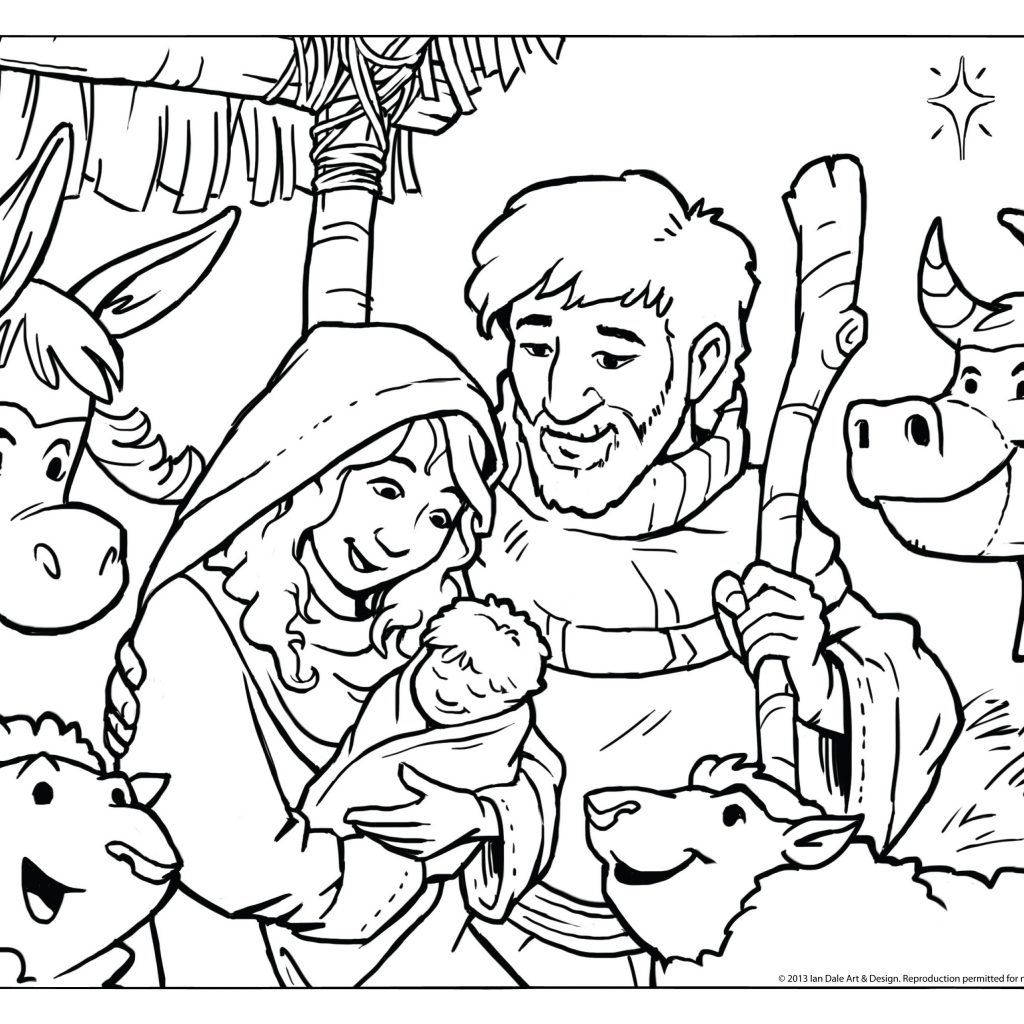 Christmas Coloring Jesus With Page Printable For Kids