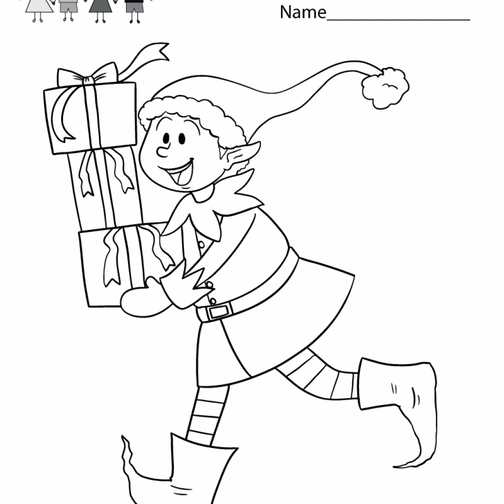 Christmas Coloring Kindergarten With Worksheet Free Holiday