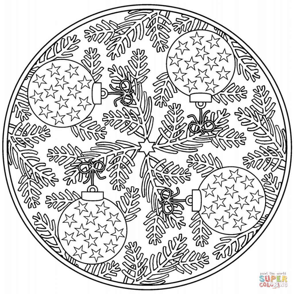 Christmas Coloring Mandala With Baubles Page Free Printable